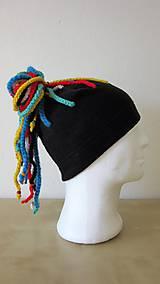 Čiapky - Čierna čiapka s vrkôčikmi - 8792471_