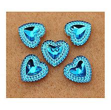 Korálky - Akrylové srdiečka, 12mm (Modrá) - 8791548_