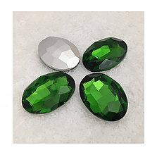 Korálky - Sklenený brúsený kabošón, zelený, 13x18mm - 8791928_