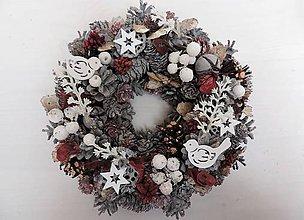 Dekorácie - Vianočný veniec (šedá-biela-bordová) - 8791342_