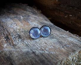Náušnice - Krúžky 9 mm s kovovým efektom (fialkovo strieborné) - 8788696_