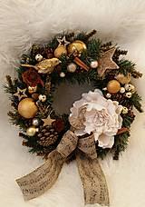 Dekorácie - Vianočný vintage veniec v zlatej farbe s baletkou - 8792042_