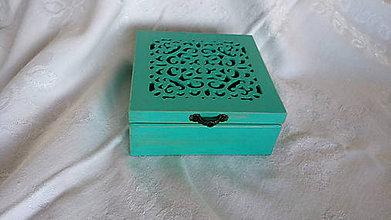 Krabičky - vyrezávaná krabička tyrkysová - 8791141_