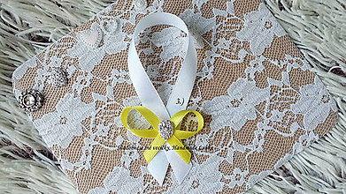 Darčeky pre svadobčanov - Stužky na fľaše / víno - žltá - 8791446_
