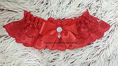 Bielizeň/Plavky - Červený podväzok pre odvážnu nevestu - 8792213_