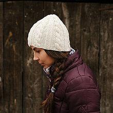 Čiapky - biela čiapka s prepletaným vzorom - 8788146_