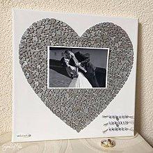 Darčeky pre svadobčanov - Srdiečkové srdce s fotkou farebné (Strieborná) - 8793449_