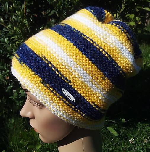 b39133345 Žlto-modro-biela čapica / Oliferie - SAShE.sk - Handmade Čiapky