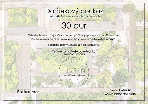 Darčekový poukaz 30 eur - machový obraz