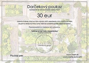 Darčekové poukážky - Darčekový poukaz 30 eur - machový obraz - 8793303_