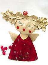 Socha - anjel červený originál - 8790901_