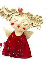Socha - anjel červený originál - 8790903_