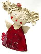 Socha - anjel červený originál - 8790907_