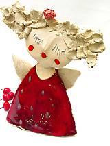 Socha - anjel červený originál - 8790909_