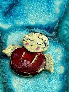 Dekorácie - anjel červený malý - 8790880_