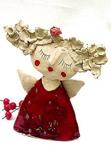 Socha - anjel červený originál - 8790902_