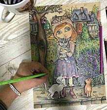 Kresby - Dievča z mačacej ulice - 8791587_