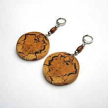 Náušnice - Špaltovaná breza - hubami maľované - 8789790_