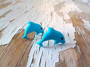 Náušnice - delfínci - napichovačky - 8792851_