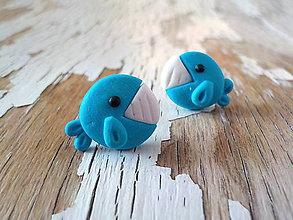 Náušnice - mini veľrybky - napichovačky - 8792863_