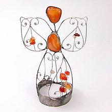 Dekorácie - Cínovaný anjel malý 12-13 cm (Karneol) - 8794572_