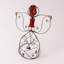Dekorácie - Pidi cínovaný anjelik (Červený jaspis) - 8794711_