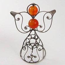 Dekorácie - Pidi cínovaný anjelik - Achát oranžový (I.) - 8794896_