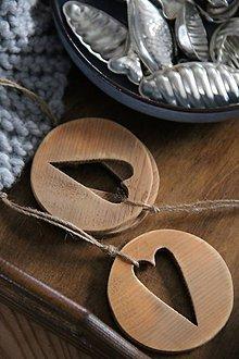 Dekorácie - Srdce v kruhu hnedé (Hnedá) - 8798158_