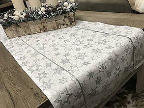Úžitkový textil - vianočná štóla na stôl 40x140cm bielo - strieborný  vzor - 8798671_