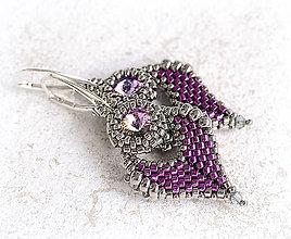 Náušnice - šité náušnice LÍSTIE (Violet - Ag 925) - 8794373_