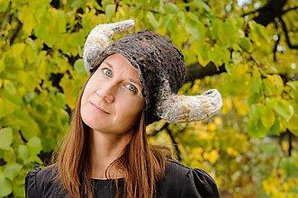 Čiapky - Vikingská čiapka s rohami, Merino vlna, hodváb - 8795345_