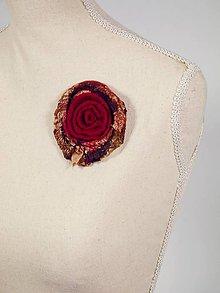 Odznaky/Brošne - Vlnená brošňa z Merino vlny a hodvábu, Červená brošňa - 8795667_