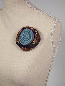 Odznaky/Brošne - Modrá vlnená brošňa z Merino vlny a hodvábu - 8795781_