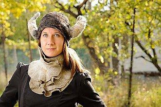 Čiapky - Vikingská čiapka, šál, set - 8799182_