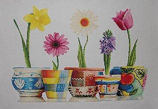 Obrazy - Farebná jar - krížiková výšivka - 8796276_