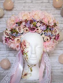 Ozdoby do vlasov - Ružová kvetinová parta \