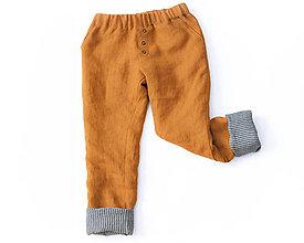 Detské oblečenie - Obojstranné nohavice MAX horčicové - 8796736_