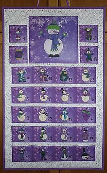 Dekorácie - Adventný kalendár SNEHULIACI (tri varianty) (VO FIALOVOM) - 8798095_