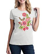 Tričká - Tričko dámske farebné folk kvety a vtáčik 04 - 8797349_