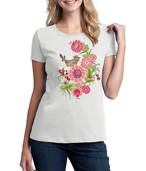 Tričko dámske farebné folk kvety a vtáčik 04