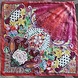 - Večerné zore- červená hodvábna sesterská maľovaná šatka - 8794763_