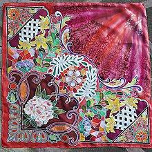 Šatky - Večerné zore- červená hodvábna sesterská maľovaná šatka - 8794763_