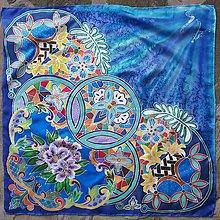 Šatky - Nočná obloha- hodvábna modrá sesterská maľovaná šatka - 8794901_