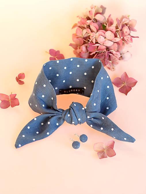 Šatky - Elegantná modrošedá bodkovaná šatka z ľanu s náušnicami - 8797444_