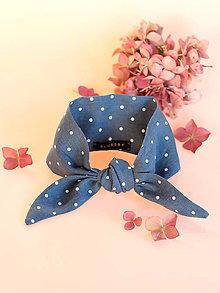 Šatky - Elegantná modrošedá bodkovaná šatka z ľanu s náušnicami (ľanová šatka bez náušníc) - 8797454_
