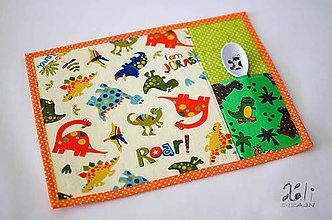 Textil - Detské prestieranie s vreckom na príbor Dinosaury - 8799119_
