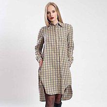 Šaty - Žluto-modré kostkované košilové šaty - 8795066_