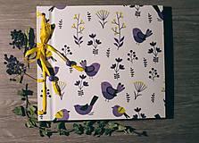 Fotoalbum klasický, polyetylénový obal s potlačou ,,Vtáčky na modro i fialovo,,