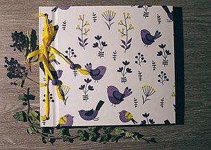 Papiernictvo - Fotoalbum klasický, polyetylénový obal s potlačou ,,Vtáčky na modro i fialovo,, (Fialová) - 8795148_