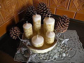 Dekorácie - Sada dekoračních svíček zlatá krajka - 8798336_